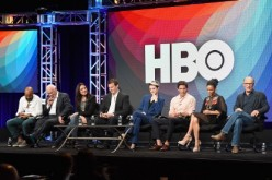Actors Jeffrey Wright, Sir Anthony Hopkins, Executive producer/writer Lisa Joy, Director/executive producer/writer Jonathan Nolan, actors Evan Rachel Wood, James Marsden, Thandie Newton and Ed Harris speak onstage during the 'Westworld' panel discussion a
