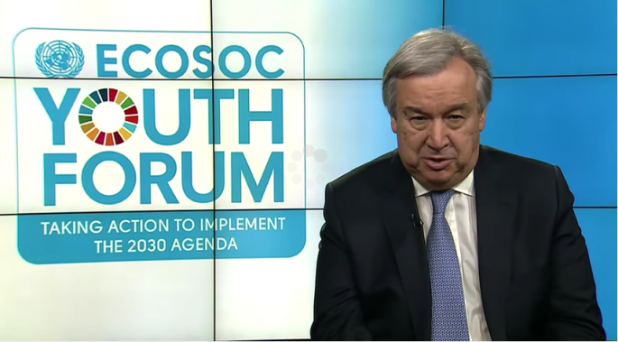António Guterres, UN Secretary-General, addressing the ECOSOC Youth Forum 2017 via video.