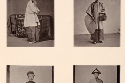 "Plate XV of John Thomson's ""Illustrations of China and Its People, Vol. 1"" shows (top, counterclockwise) a lady from Canton, the lady's maid, a bride and her groom."