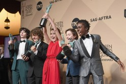 (L-R) Actors Finn Wolfhard, Gaten Matarazzo, Millie Bobby Brown, Noah Schnapp, and Caleb McLaughlin pose in the press room during the 23rd Annual Screen Actors Guild Awards on Jan. 29, 2017.