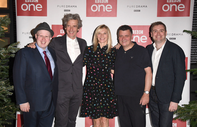 Matt Lucas, Peter Capaldi, Jo Whiley, Steven Moffat and Brian Minchin attend the Doctor Who 2016 Christmas special screening at BFI Southbank on December 14, 2016 in London, England.