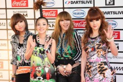 2NE1 pose on the red carpet during the MTV World Stage VMAJ 2010 at Yoyogi National Gymnasium on May 29, 2010 in Tokyo, Japan.