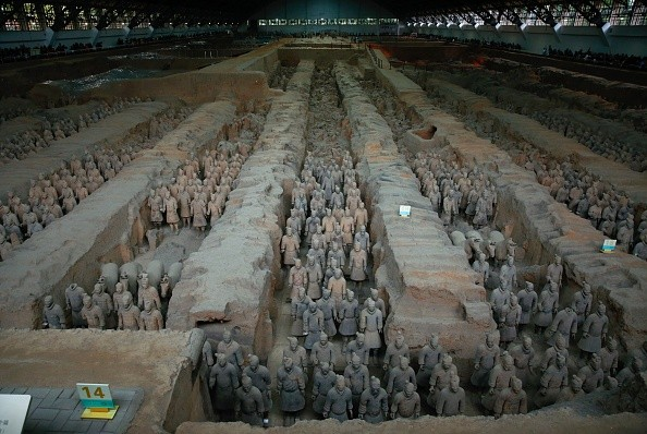 This photo taken on Oct. 21, 2016 shows the sculptures of the Terracotta Army at the Terracotta Warrior Museum in Xian in north China's Shaanxi Province.