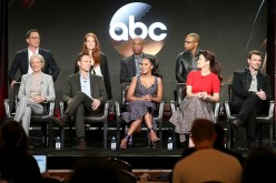 Joshua Malina, Darby Stanchfield, Joe Morton, Cornelius Smith Jr., Betsy Beers, Tony Goldwyn, Kerry Washington, Bellamy Young, and Scott Foley of 'Scandal' speak onstage at the 2017 Winter Television Critics Association Press Tour.