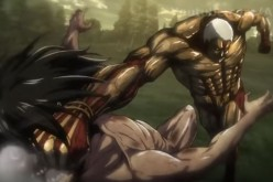 Two Titans are fighting each other as seen on the upcoming 'Attack on Titan' Season 2.
