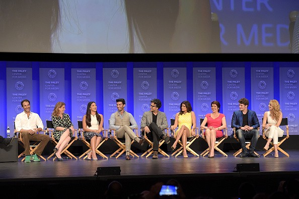Ben Silverman, Jennie Urman, Gina Rodriguez, Justin Baldoni, Jaime Camil, Andrea Nevado, Ivonne Coll, Brett Dier and Yael Grobglas attend the 32nd Annual PALEYFEST LA 'Jane The Virgin' screening held
