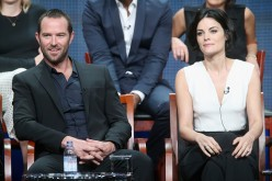 Sullivan Stapleton and Jaimie Alexander speak onstage during NBC's 'Blindspot' panel discussion at the NBC Universal portion of the 2015 Summer TCA Tour held on August 13, 2015.