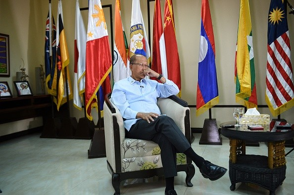 Philippine Defense Secretary Delfin Lorenzana takes part in an interview with AFP in Manila.