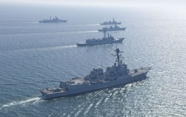 Multinational warships during Aman-13.