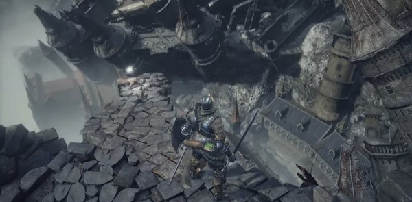 "The ""Dark Souls 3"" hero looks down on the ruins of the Ringed City."