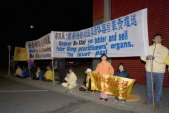 Members of Chinese spiritual group Falun Gong condemn the Chinese government's persecution against them, which includes forceful organ harvesting on many of its detained members.