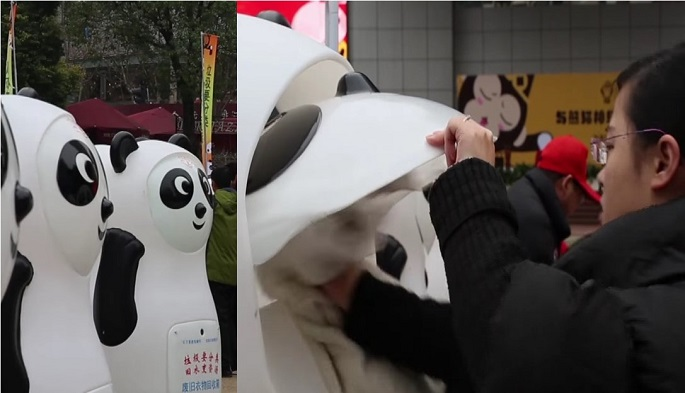 (L) Some of the panda bins put on display on Nanjing Road and Huaihai Park in Shanghai in Jan. 2016. (R) A woman places a piece of clothing inside as a donation.