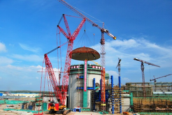 A general view at the construction site of No. 2 reactor of the Changjiang Nuclear Power Plant.