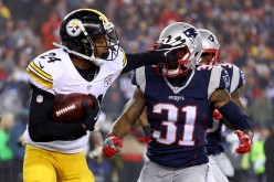 Justin Gilbert defends the ball against the New England Patriots' Jonathan Jones in the first half of the AFC Championship game last Jan. 22.