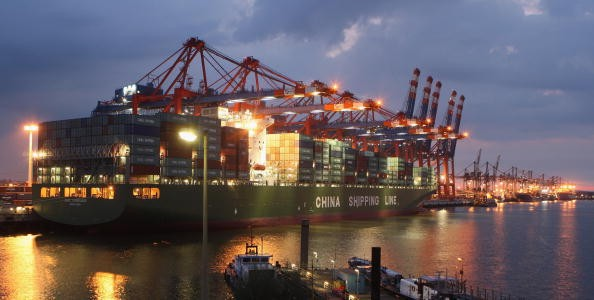 A container ship from China Shipping Line is loaded at the main container port on Aug. 13, 2007, in Hamburg, Germany.