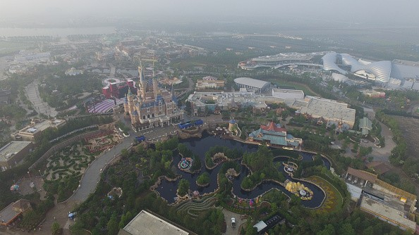 An aerial view of the Shanghai Disney Resort.