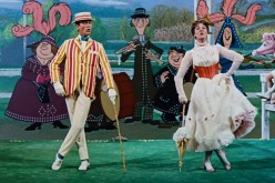 Bert (Dick Van Dyke) and Mary Poppins (Julie Andrews) dance with animated characters in the 1964 Disney classic, 'Mary Poppins.'