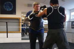 Ricky Hatton is training his fighter Zhanat Zhakiyanov for his upcoming fight.