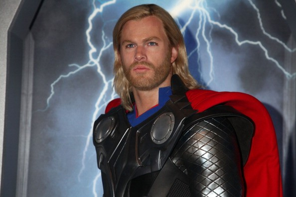 A wax figure of Thor, as portrayed by actor Chris Hemsworth, appears at the Madame Tussauds New York's Interactive Marvel Super Hero Experience at Madame Tussauds on April 26, 2012 in New York City.