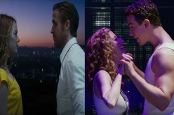 "Close, closer: (L) Emma Stone and Ryan Gosling's characters in ""La La Land"" face each other. (R) The lovers in ""Ghost the Musical"" clasp hands."