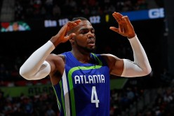 Paul Millsap of the Atlanta Hawks reacts a foul was called charged to a teammate during the game against the Boston Celtics at Philips Arena on January 13, 2017 in Atlanta, Georgia.