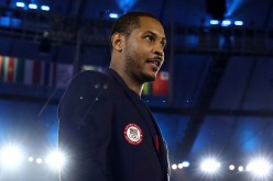 Carmelo Anthony of the United States takes part during the Opening Ceremony of the Rio 2016 Olympic Games at Maracana Stadium.