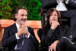 Andrew Lincoln and Norman Reedus speak onstage during AMC presents 'Talking Dead Live' for the premiere of 'The Walking Dead' at Hollywood Forever on October 23, 2016 in Hollywood, California.