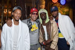 NBA player Paul George (L), Reggie Jackson, and guests attend the annual Midsummer Night's Dream party hosted by Hugh Hefner at The Playboy Mansion