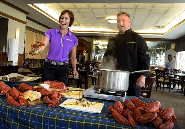 A chef prepares lobsters for a golf event in Nova Scotia.