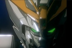The eyes of a Gundam Suit light up as the pilot inside prepares for combat.