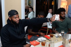 NBA player and 2016 USA Basketball Men's National Team members DeMarcus Cousins (L) and DeAndre Jordan attend the Team USA welcome dinner hosted by Carmelo Anthony at Lakeside at Wynn Las Vegas.