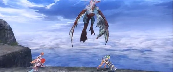 """Ys VIII: Lacrimosa of Dana's"" first protagonist Adol and his friends battle against a monster high up on the mountains."