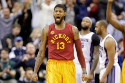 Paul George of the Indiana Pacers celebrates after making a basket during the game against the Sacramento Kings at Bankers Life Fieldhouse on January 27, 2017 in Indianapolis, Indiana.