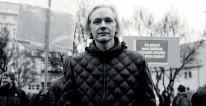 Wikileaks founder, Julian Assange, posed for a picture at a protest during his younger years.