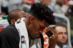 Jimmy Butler of the Chicago Bulls reacts during the final minutes of their 102-93 loss to the Atlanta Hawks at Philips Arena on January 20, 2017 in Atlanta, Georgia.