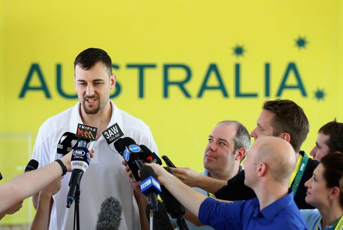 Andrew Bogut speaks during a press conference at The Edge.