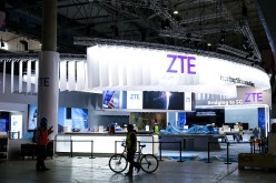 A photo of ZTE Corp's stand at the 2017 Mobile World Congress (MWC) in Barcelona, Spain.
