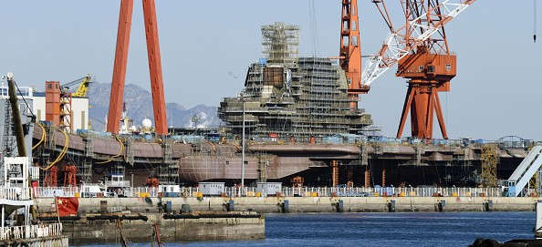 China's first domestically made aircraft carrier under construction in Dalian.
