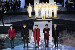 K-Pop boy band B1A4 members Jinyoung, CNU, Sandeul, Baro and Gongchan attend the PyeongChang 2018 One Year to Go Ceremony at Gangneung Hockey Center on Feb. 9, 2017 in Gangneung, South Korea.