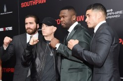Jake Gyllenhaal, Eminem, Curtis '50 Cent' Jackson and Miguel Gomez attend the New York premiere of 'Southpaw' for THE WRAP at AMC Loews Lincoln Square on July 20, 2015 in New York City.