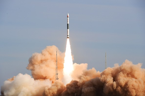 The rocket Kuaizhou-1A, carrying the satellite JL-1 and two CubeSats XY-S1 and Caton-1, blasts off from the Jiuquan Satellite Launch Center in northwest China's Gansu Province, Jan. 9, 2017.