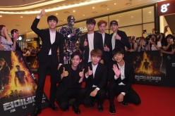 K-Pop boy group BtoB members pose during the Seoul premiere of 'Terminator Genisys' at the Lotte World Tower Mall on July 2, 2015 in Seoul, South Korea.