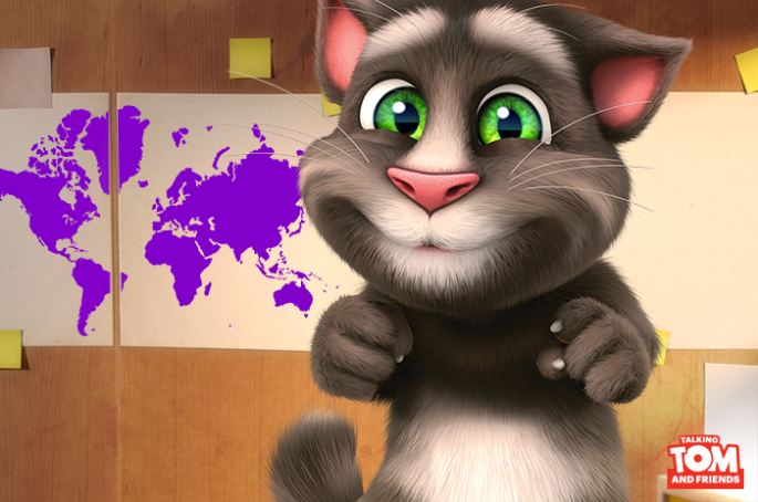 Photo shows Talking Tom, the main character featured in the famous app of Outfit7.