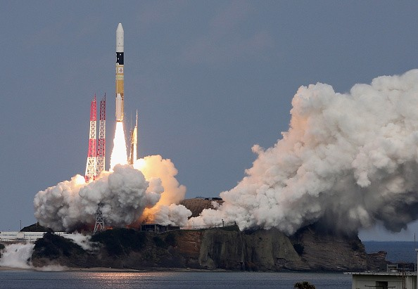 The H-2A Launch Vehicle No. 26 carrying Hayabusa 2, an asteroid probe of Japan Aerospace Exploration Agency (JAXA), lifts off from the launch pad at the JAXA's Tanegashima Space Center.