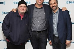 Artie Lange, Pete Holmes and Judd Apatow visit the SiriusXM studios on February 13, 2017 in New York City.