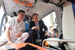 U.N. Secretary-General Ban Ki-moon visits the Beijing Red Cross Emergency Rescue Center.