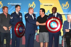 Michael Cudlitz, Tech Sgt. John Ayre, Staff Sgt. Spencer Stone, Dean Cain, Staff Sgt. Johnathan Gales and Caroll Spinney onstage at the Wizard World Sacramento Honors Hometown Heroes event at the Sacramento Convention Center on June 17, 2016.