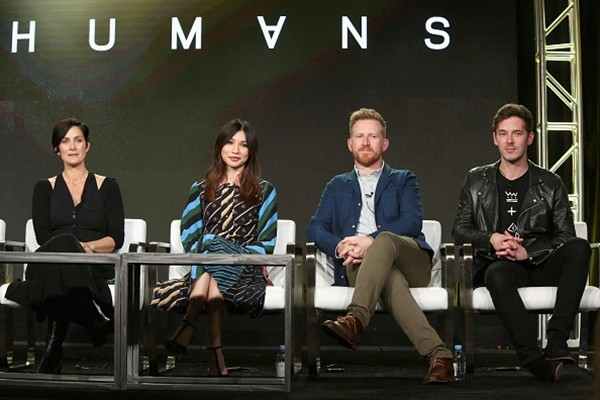 Carrie-Anne Moss, Gemma Chan, Tom Goodman-Hill and Sam Palladio attend the AMC presentation of The SON, HUMANS Season 2, Better Call Saul Season 3 on January 14, 2017 in Pasadena, California.