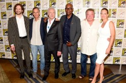 Bryan Fuller, Scott Bakula, Brent Spiner, Michael Dorn, William Shatner and Jeri Ryan attend the 'Star Trek 50' press line during Comic-Con International on July 23, 2016 in San Diego, California.