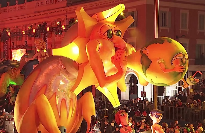 "Hello, yellow! A gigantic character with the face of the sun goes on parade at Nice Carnival - ""The King of Energy"" during its first weekend in Feb. 2017 in Nice, France."